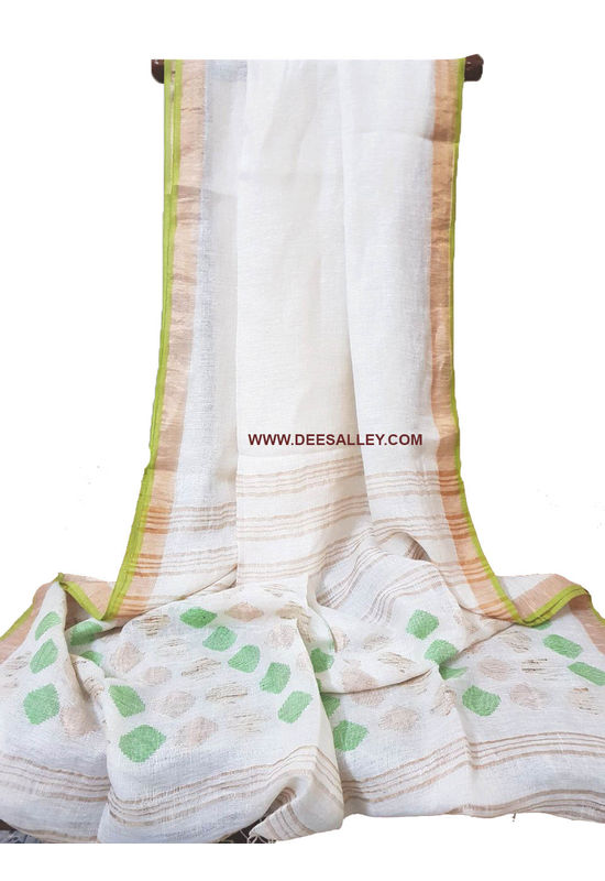 Dee's Alley  Pure Linen Silk Saree with  Jamdani work  in White Color