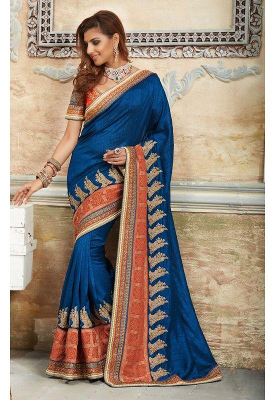 Designer Wedding Raw Silk Saree in Blue Color_1