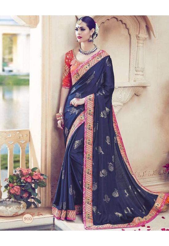 Designer Wedding saree in Blue Color_10
