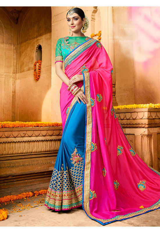 Designer Wedding saree in Blue Color_11