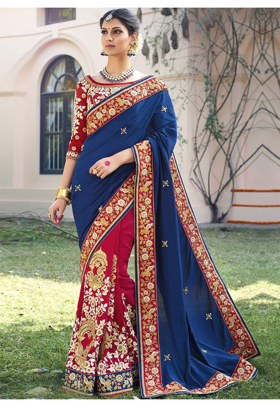 Designer Wedding saree in Blue Color_2