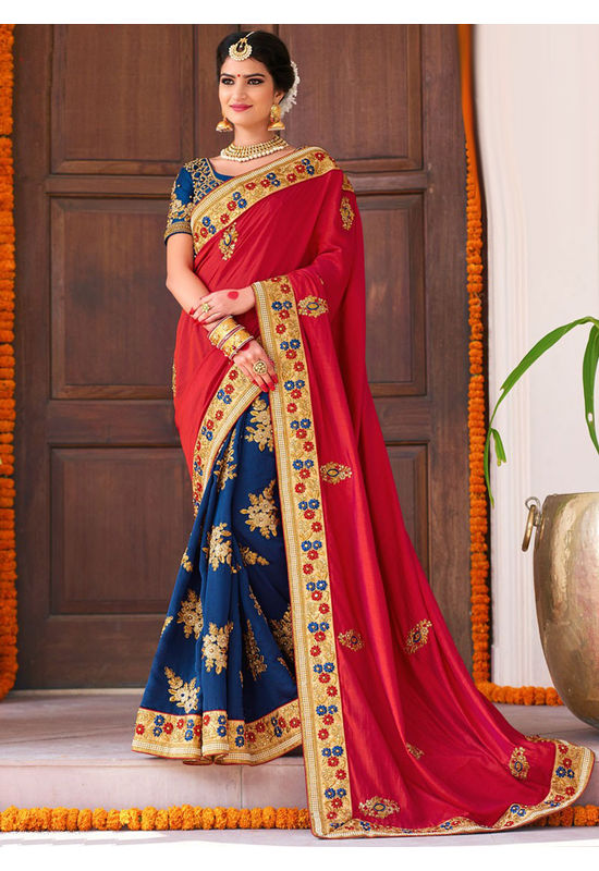 Designer Wedding saree in Blue Color_3