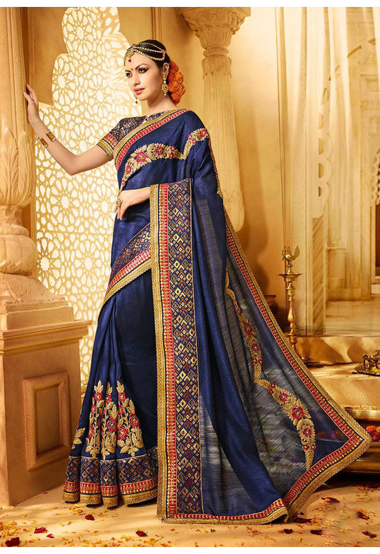 Designer Wedding saree in Blue Color_4