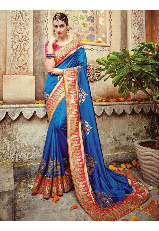 Designer Wedding saree in Blue Color_5