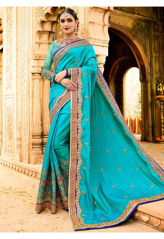 Designer Wedding saree in Blue Color_6