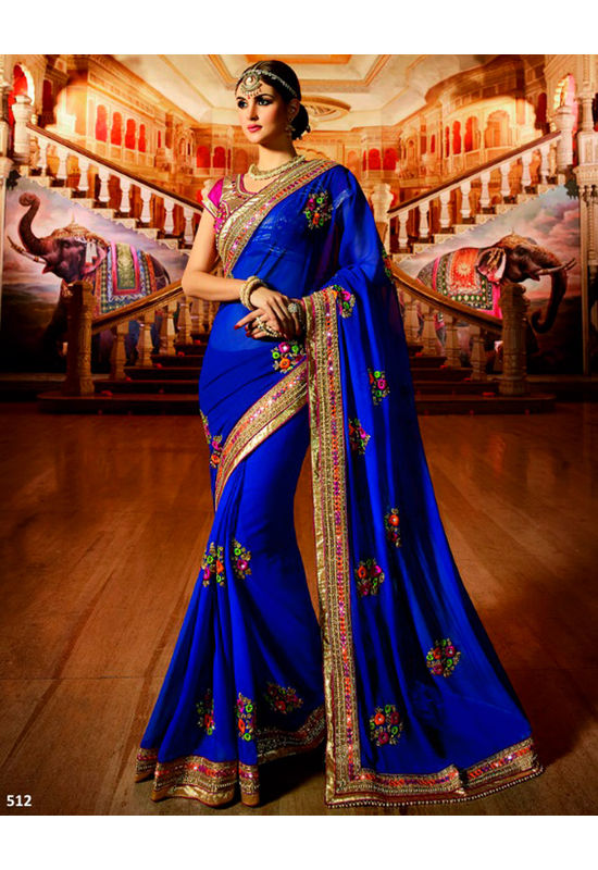 Designer Wedding saree in Blue Color_7