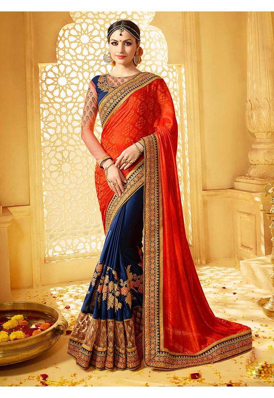Designer Wedding saree in Blue Color_9