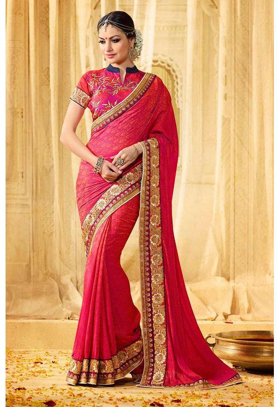 Designer Wedding Red Bridal Saree_16