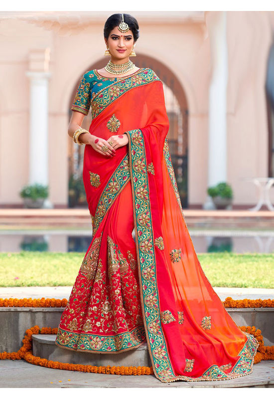 Heavily Embroidered Bridal Wedding Saree_4