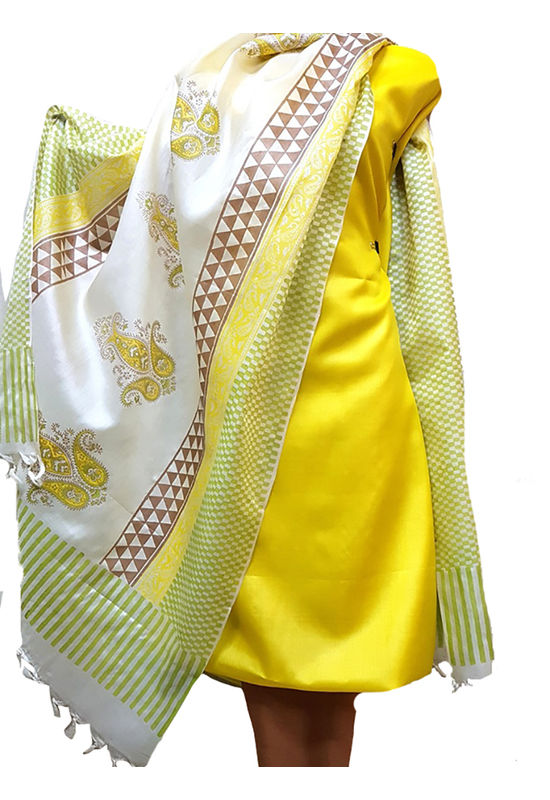 Pure Tussar Silk Material  in Yellow -White  Color