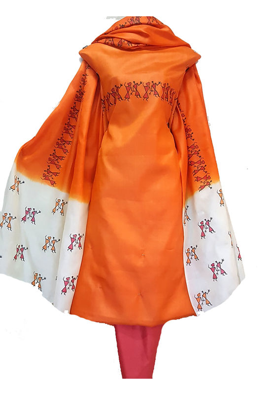 Block Printed Pure Tussar Silk Material in Orange Color