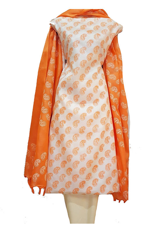 Block Printed Pure Tussar Silk Material in Orange and Off white combination