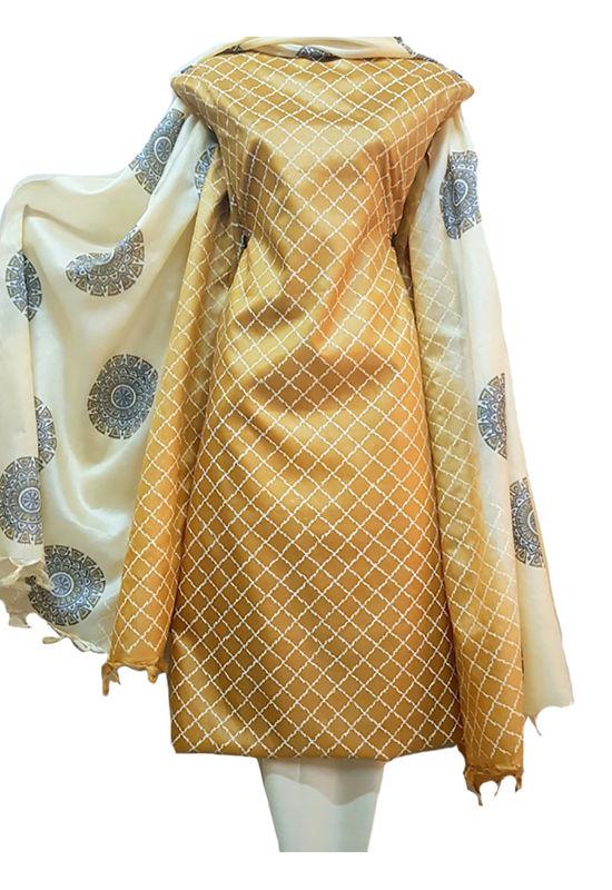 Block Printed Pure Tussar Silk Material in Brown Beige combination