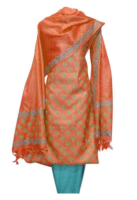 Block Printed Tussar Dress Material in Orange Green
