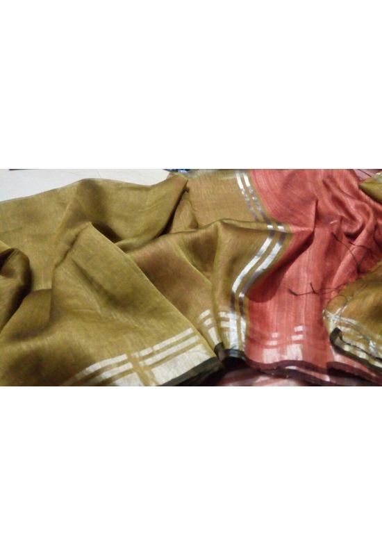 Dee's Alley  Pure Linen Silk Saree with  Zari Border