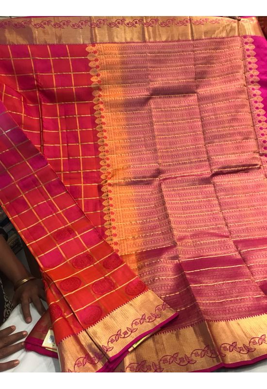 Dee's Alley  Shaded  Red Color Pure Kanjeevaram Silk Saree - 100% Pure Silk