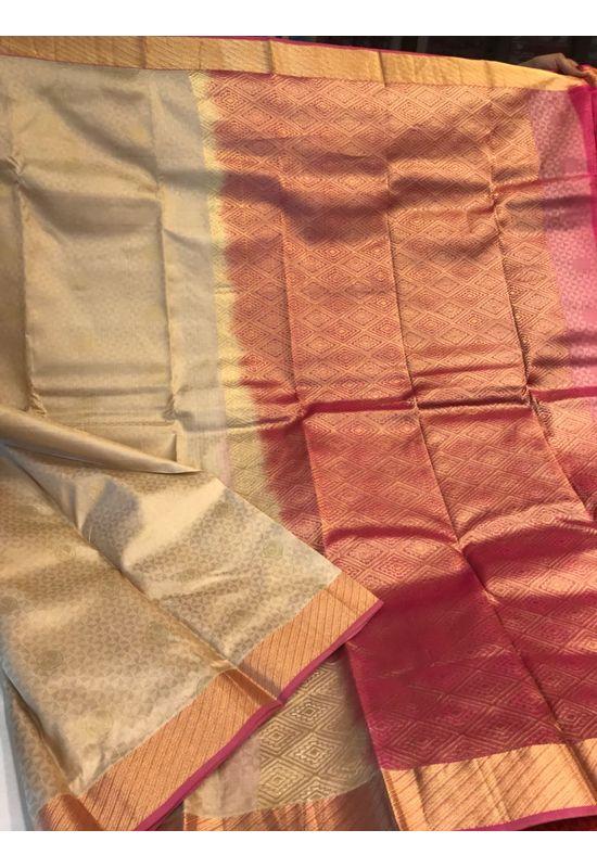 Dee's Alley Golden Color Pure Kanjeevaram Silk Saree - 100% Pure Silk