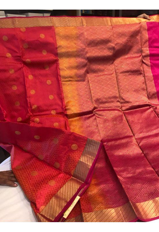 Dee's Alley  Red Color Pure Kanjeevaram Silk Saree - 100% Pure Silk