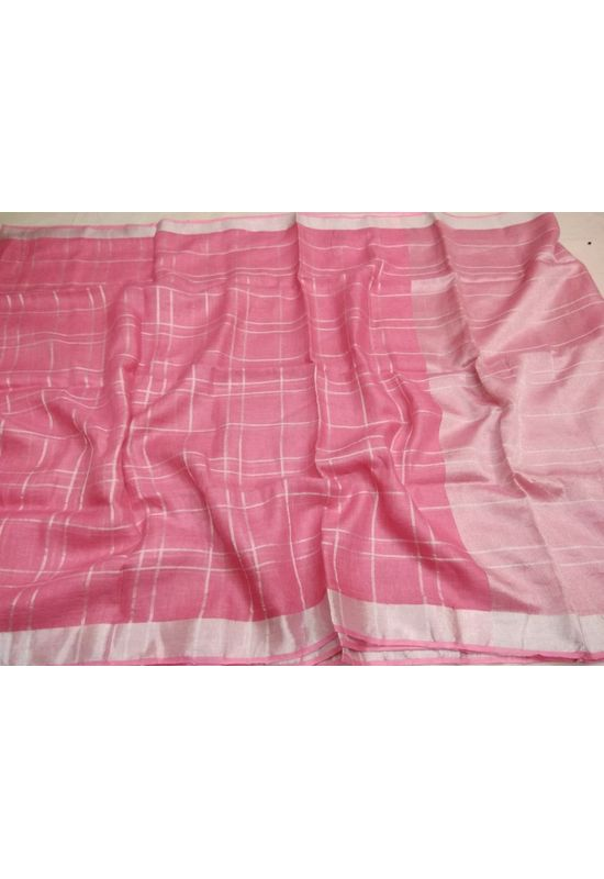 Dee's Alley  Pure Linen Silk Saree in Pink Color