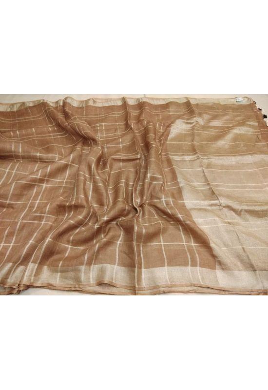 Pure Linen Silk Saree with  Zari Border