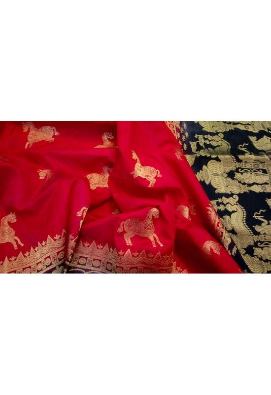 Red Color  Banarasi Silk Saree with Contrast Border