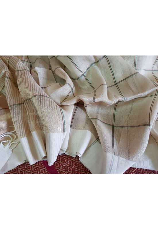 Dee's Alley  Pure Linen by linen in checks with silver zari
