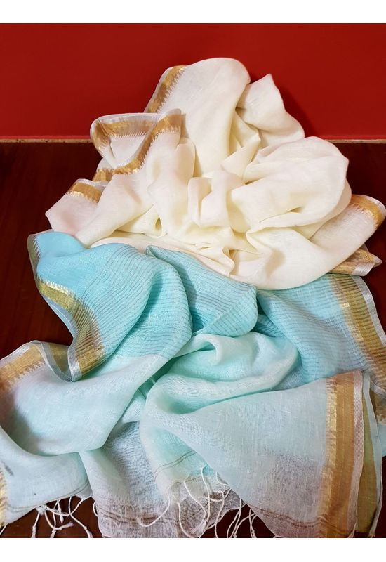 Dee's Alley  Pure Linen Silk Saree in White color with Blue  Pallu