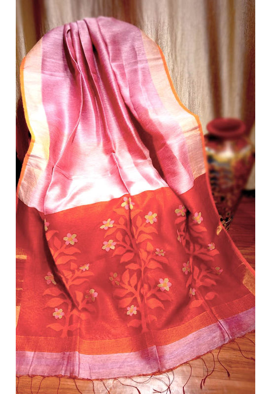 Pure Linen Silk Saree with Jaamdani Work in Pink Color