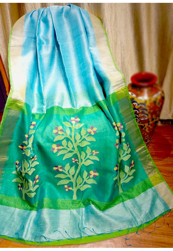 Pure Linen Silk Saree with Jaamdani Work in Blue & Green Color