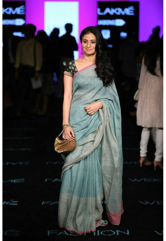 Dee's Alley  Pure Linen  by Linen Saree with Pink Silver Border