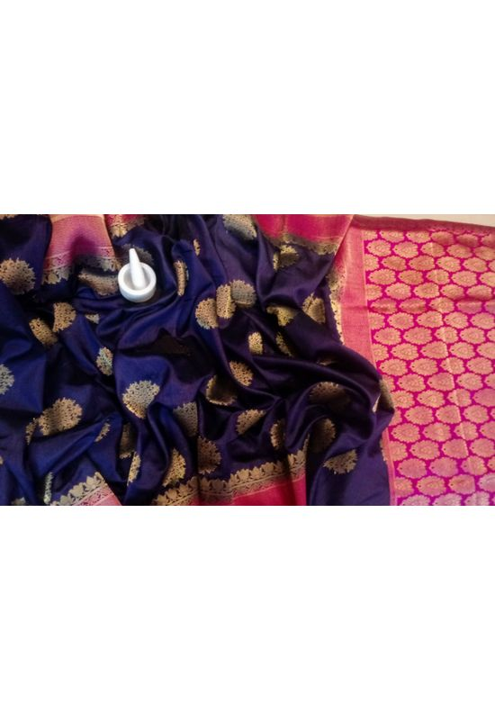 Purple Color Banarasi Saree with Floral Motifs