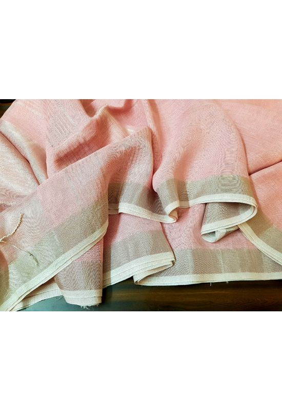 Pure Linen Silk Saree in Pink Peach Color with Silver Zari