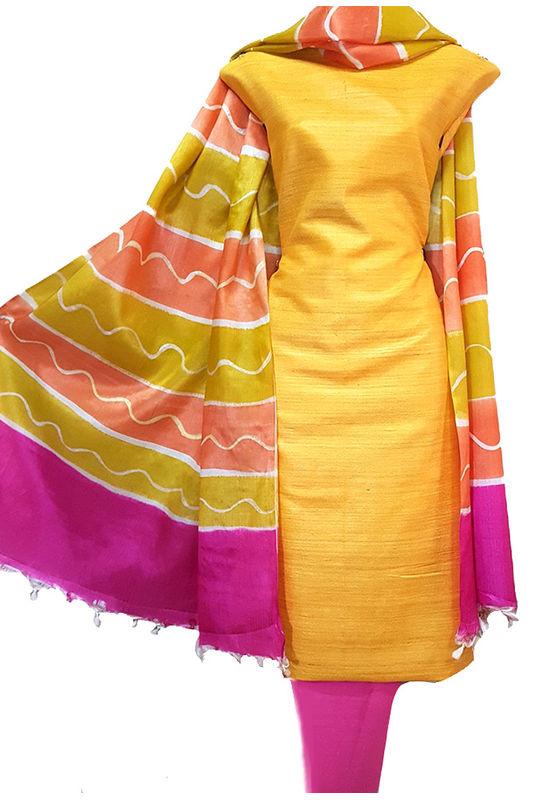 Yellow Magenta Tussar Silk Material R 50