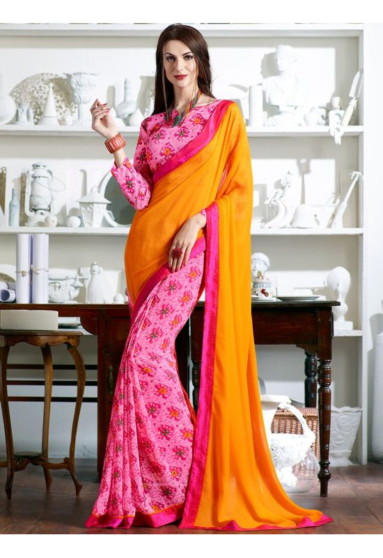 light pink yellow printed Georgette Saree