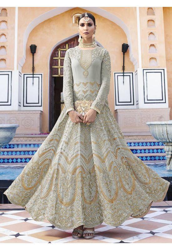 Grey  Georgette  Long and heavy  Anarkali Dress