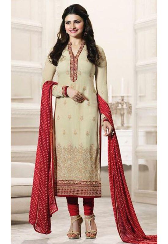 Prachi Desai Beige Georgette Straight Salwar Suit