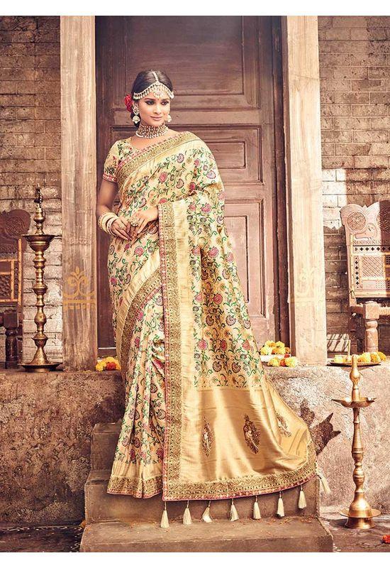 Banarasi Silk Saree with Meenakari weave in Beige Color