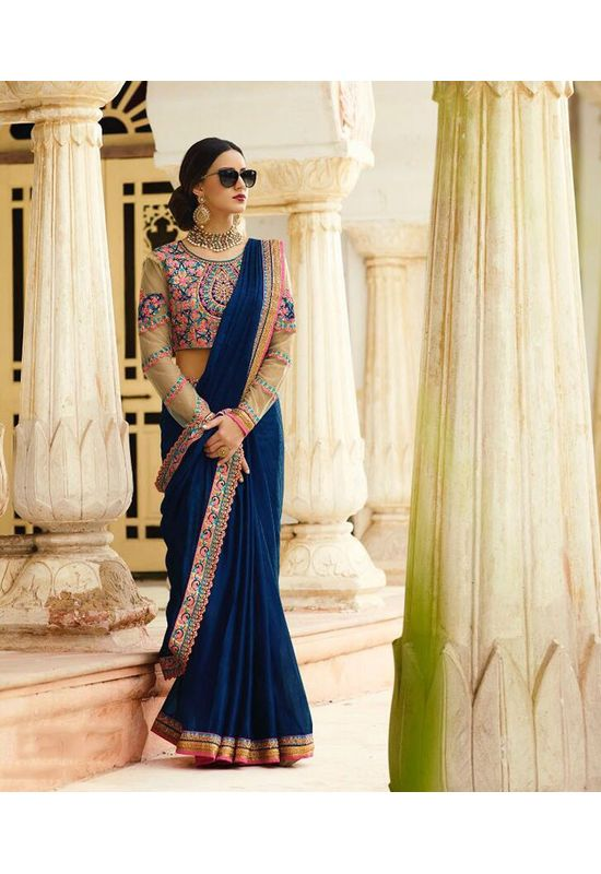 Dark Blue Art Silk Designer Saree with Heavy Embroidered Blouse