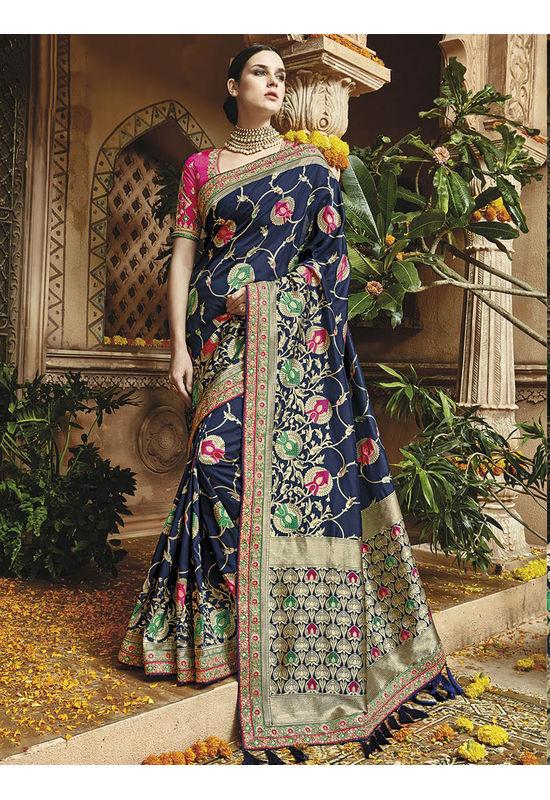 Blue Kanjeevaram silk saree with embroidery