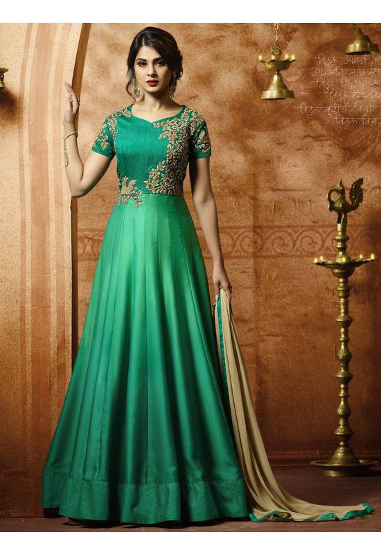 Jeniffer Winget Green colour Satin Anarkali Gown Suit