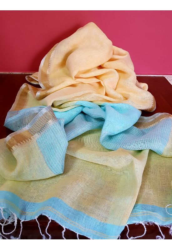 Dee's Alley  Pure Linen Silk Saree in Pastel Yellow and Blue