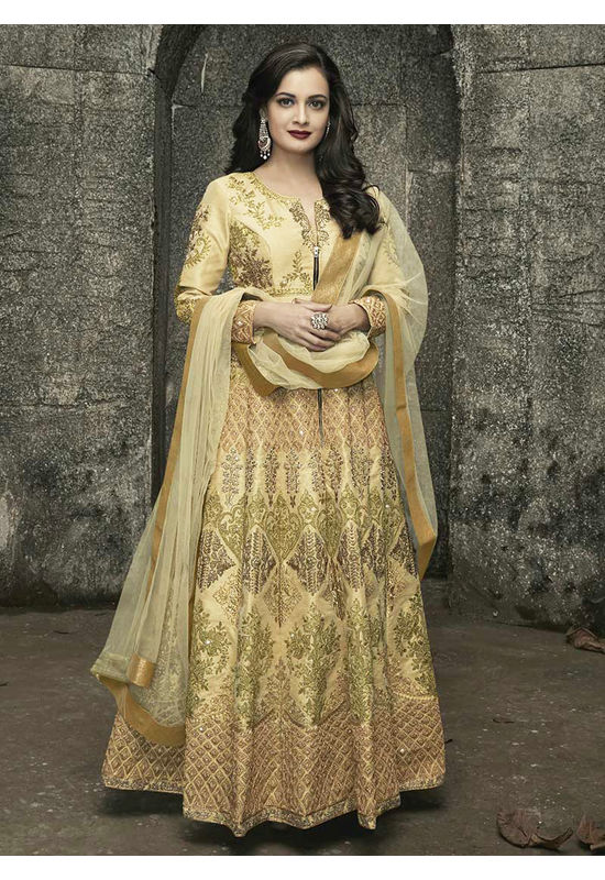 Diya Mirza in Cream Color Embroidered  Anarkali Salwar Suit