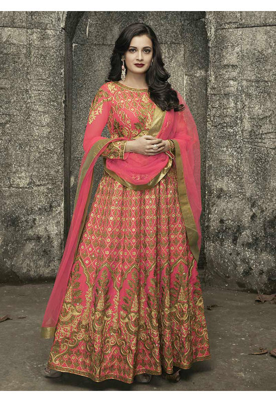 Diya Mirza in Coral Pink Color Embroidered  Anarkali Salwar Suit