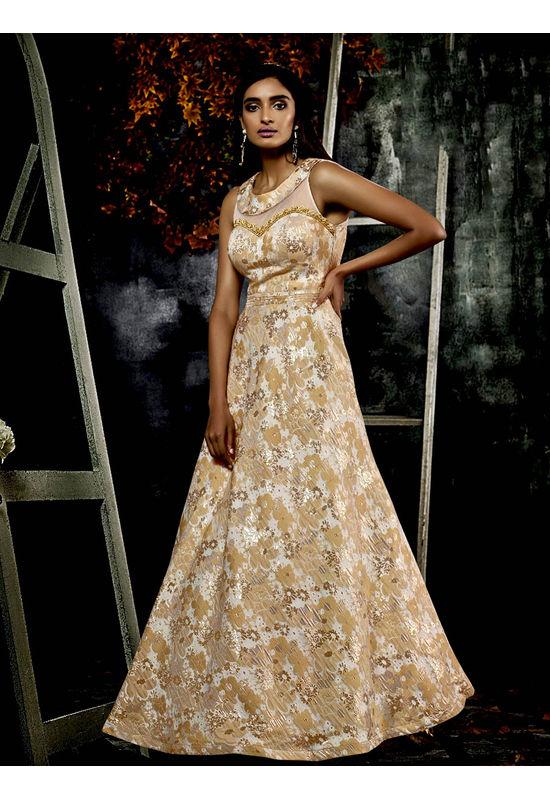 Designer Cream  Beige Long Party Gown