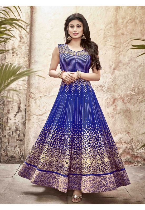 Mouni Roy Blue Long Anarkali Salwar Suit with Zari work