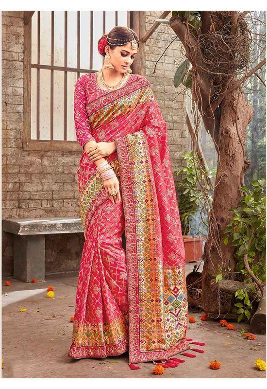 Banarasi Silk Wedding saree with Meenakari weave in Pink Color