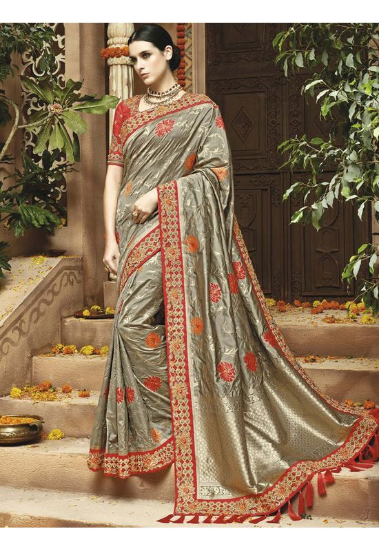 Grey Kanjeevaram silk saree with embroidery