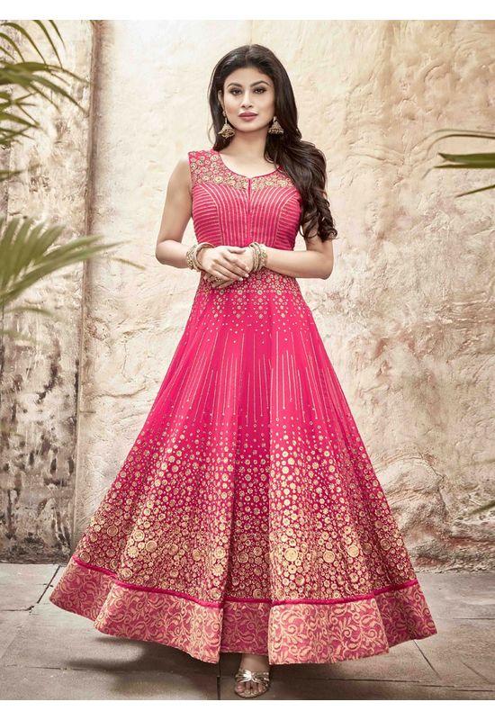 Mouni Roy Pink Long Anarkali Salwar Suit with Zari work