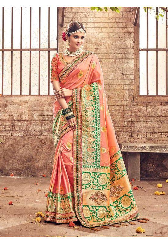 Banarasi Silk Wedding saree with Meenakari weave in Peach Color