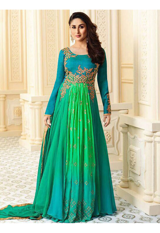 Kareena Kapoor Blue & Green Georgette  Anarkali Gown Suit